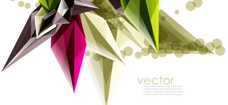 Cristalli di vetro di colore su sfondo bianco, composizione astratta geometrica con pietre preziose di vetro e copyspace, modello di sfondo