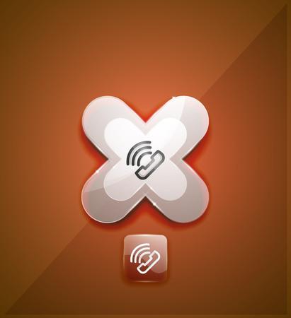 Phone support call center button, web icon design Vettoriali