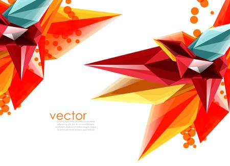 Cristalli di vetro di colore di vettore su sfondo bianco, composizione astratta geometrica con pietre preziose di vetro e copyspace, modello di sfondo
