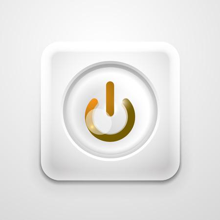 Power button technology logo, digital art techno concept, on off icon Illustration