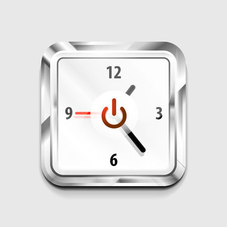 Power button technology  digital art techno concept, on off icon and time clock design Illustration