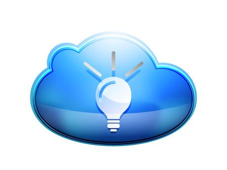 Light bulb, new idea concept web button, vector illustration