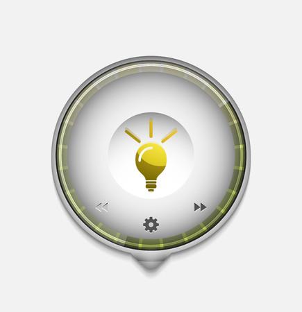 Light bulb, new idea concept web button illustration.