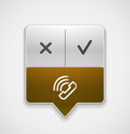 Vector phone support web button, digital technology concept, old phone icon