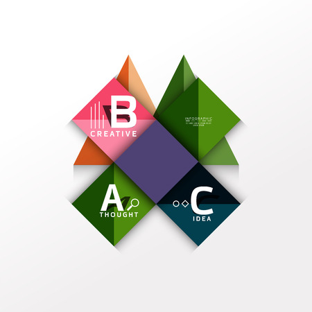 Geometric infographic banner, paper info diagram created with color shapes 向量圖像