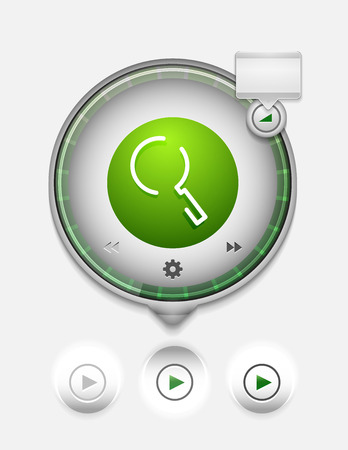 Search magnifyier web button, magnify icon. Modern magnifying glass sign, web site design or mobile app Illustration