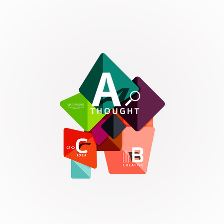 Abstract geometric option infographic banners, a b c steps process Çizim