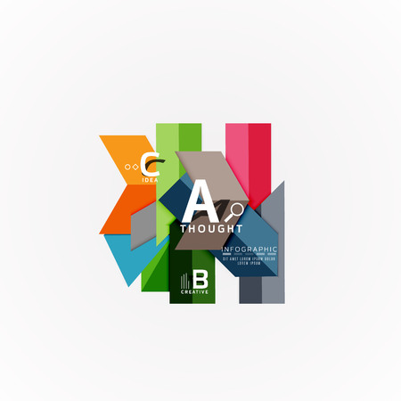 Abstract geometric option infographic banners, a b c steps process Illustration