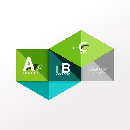 Geometric infographic banner, paper info a b c option diagram created with color shapes. Vector illustration