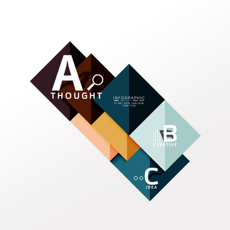 Geometric infographic banner, paper info a b c option diagram created with color shapes. Vector illustration Illusztráció