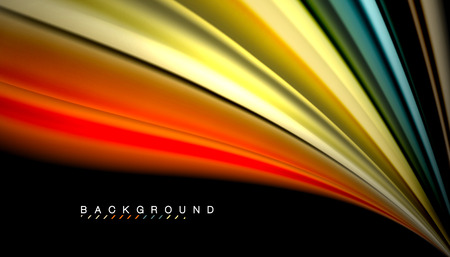 Abstract wave lines fluid rainbow style color stripes on black background. Vector artistic illustration for presentation, app wallpaper, banner or poster