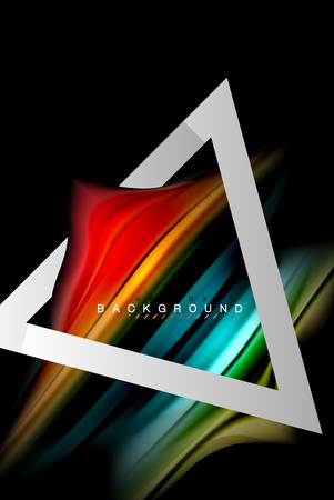Liquid fluid colors holographic design with metallic style line shape Illustration