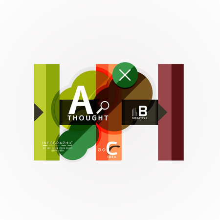Abstract geometric option infographic banners, a b c steps process. Vector illustration Çizim