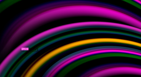 Fluid rainbow colors on black background, vector wave lines and swirls Vettoriali