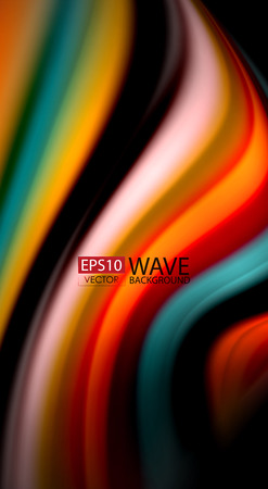 Fluid rainbow colors on black background, vector wave lines and swirls, artistic illustration for presentation, app wallpaper, banner or poster