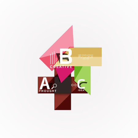 Abstract geometric option infographic banners, a b c steps process Vectores