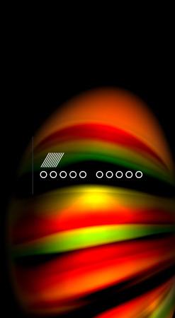 Abstract wave lines fluid rainbow style color stripes on black background. Artistic illustration for presentation, app wallpaper, banner or poster Illustration