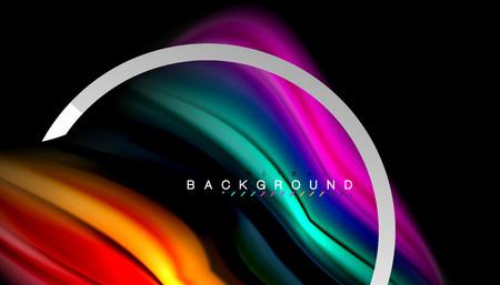 Liquid fluid colors holographic design with metallic style line shape Vectores