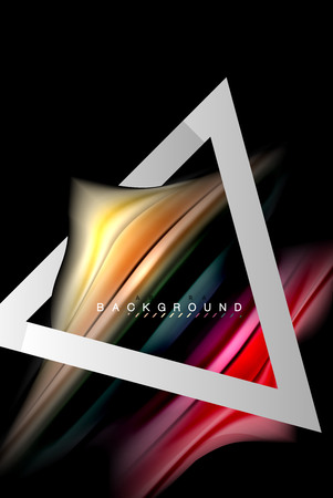 Liquid fluid colors holographic design with metallic style line shape Illustration