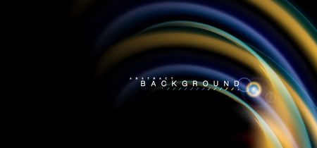Color shiny light effects on black, liquid style multicolored wavy shape