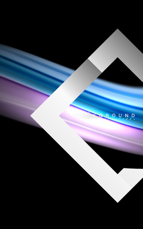 Rainbow fluid colors wave and metallic geometric shape. Artistic illustration for presentation, app wallpaper, banner or poster 矢量图像