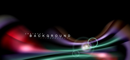 Color shiny light effects on black, liquid style multicolored wavy shape. Artistic illustration for presentation, app wallpaper, banner or poster, geometric design
