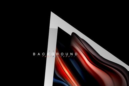 Liquid fluid colors holographic design with metallic style line shape. Vector artistic illustration for presentation, app wallpaper, banner or poster Illustration