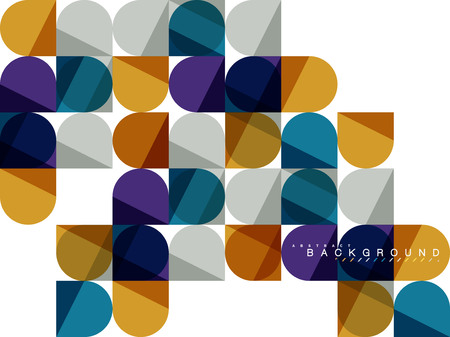 Round square geometric shapes on white, tile mosaic abstract background Иллюстрация