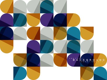Round square geometric shapes on white, tile mosaic abstract background Ilustração