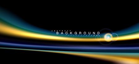 Color shiny light effects on black, liquid style multicolored wavy shape. Artistic illustration for presentation, app wallpaper, banner or poster, geometric design