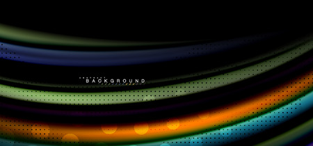 Multicolored wave lines on black background vector design 일러스트