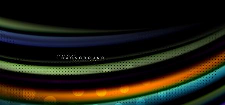 Multicolored wave lines on black background vector design Illustration