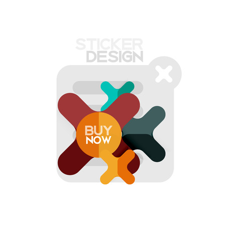 Flat design cross shape geometric sticker icon, paper style design with buy now sample text, for business or web presentation, app or interface buttons, internet website store banners and labels