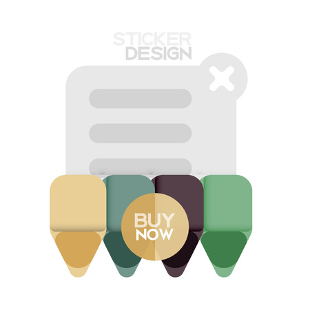 Flat design triangle arrow shape geometric sticker icon, paper style design with buy now sample text, for business or web presentation, app or interface buttons, internet website store banners