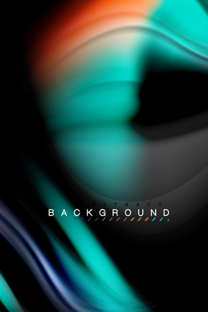 Fluid liquid glowing colors design, colorful marble or plastic wavy texture background, glowing multicolored elements on black, for business or technology presentation or web brochure cover design, wallpaper, vector illustration Ilustracja
