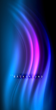 Neon glowing wave, magic energy and light motion background