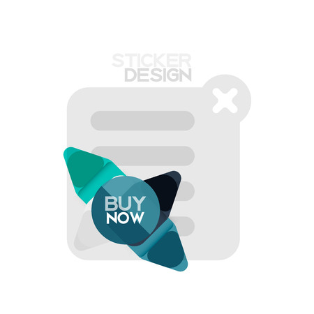 Flat design triangle arrow shape geometric sticker icon, paper style design with buy now sample text, for business or web presentation, app or interface buttons, internet website store banners and labels
