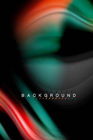 Fluid liquid glowing colors design, colorful marble or plastic wavy texture background, glowing multicolored elements on black, for business or technology presentation or web brochure cover design, wallpaper, vector illustration Ilustração