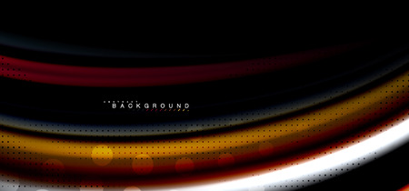 Multicolored wave lines on black background vector design Illustration