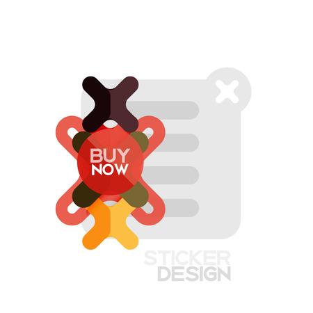 Icône d'autocollant géométrique en forme de croix design plat, conception de style papier avec acheter maintenant un exemple de texte, pour une présentation commerciale ou Web, des boutons d'application ou d'interface