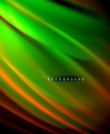 Neon glowing wave, magic energy and light motion background. Vector wallpaper template, illustration
