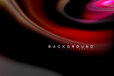 Fluid liquid glowing colors design, colorful marble or plastic wavy texture background, glowing multicolored elements on black, for business or technology presentation or web brochure cover design, wallpaper, vector illustration Illustration