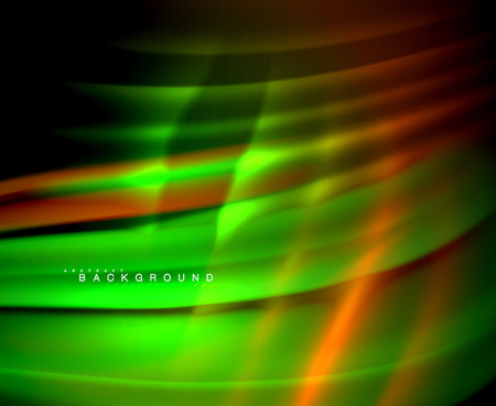 Neon glowing wave, magic energy and light motion background. Vector wallpaper template Ilustracja