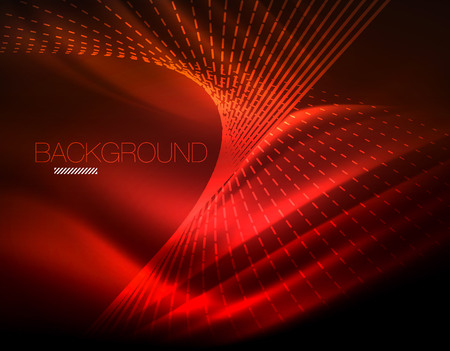 Smooth light effect, straight lines on glowing shiny neon dark background. Energy technology idea. Vector illustration