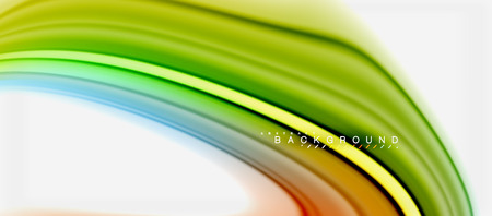 Rainbow fluid colors abstract background twisted liquid design, colorful marble or plastic wavy texture backdrop, multicolored template for business or technology presentation or web brochure cover layout, wallpaper. Vector illustration Illustration