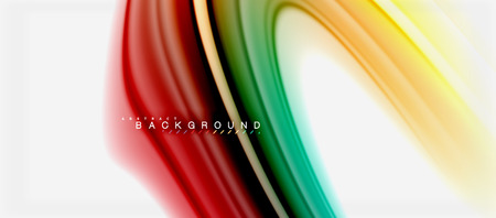 Rainbow fluid colors abstract background twisted liquid design, colorful marble or plastic wavy texture backdrop, multicolored template for business or technology presentation or web brochure cover layout, wallpaper. Vector illustration