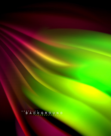 Neon holographic fluid color wave for web, wallpaper, pattern, texture and background. Vector illustration