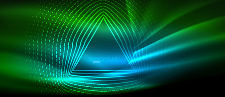 Neon glowing wave, magic energy and light motion background. Vector wallpaper template, hi-tech future concept