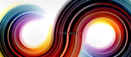 Rainbow fluid color line abstract background - swirl and circles, twisted liquid colours design, colorful marble or plastic wavy texture backdrop, multicolored template for business or technology presentation or web brochure cover layout, wallpaper. Vector illustration