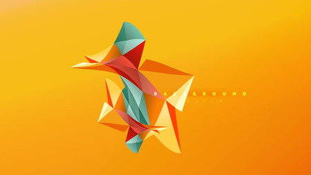 Abstract background - geometric origami style shape composition, triangular low poly design concept. Colorful trendy minimalistic vector illustration